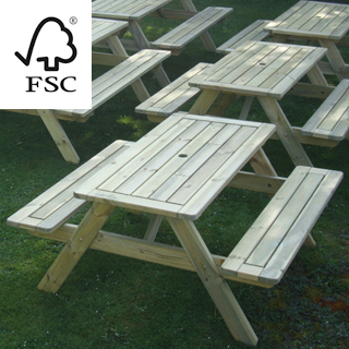 sherwood fsc certified picnic table 1400, flat pack delivery